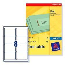 Avery Clear Labels 8per sheet - J8565 - 25 Sheets - 99.1 x 67.7mm