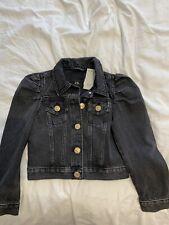 River Island Black Denim Girls Puff Sleeve Denim Jacket Age 7-8