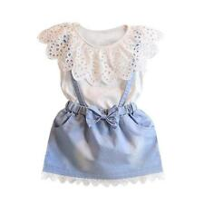 Toddler Kids Girls Outfit Shirt Baby Tops Strap Dress Skirt 2PCS Sets 5-6Y