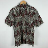 Mens Batik Singapore Shirt Large Multicoloured Short Sleeve Button Up Collared