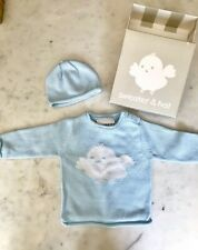 Trumpette Baby Chick Sweater and Hat Gift Set 0-6 months Blue Rolled collar hem