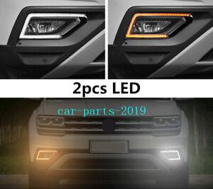 Front Bumper LED Fog Light Lamp Running DRL Trim For VW Atlas SUV 2018 2019 2020