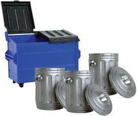 Blue Dumpster & 3 Silver Trash Cans For WWE Wrestling Action Figures