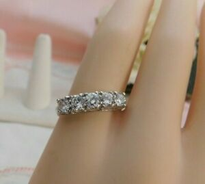 Diamonique Sterling Silver 5 Stone Band Ring 925 DQ CZ Size 10