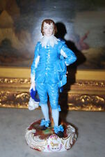 Early French Or German Gainsborough'S Blue Boy Porcelain Figurine Heraldic Crest