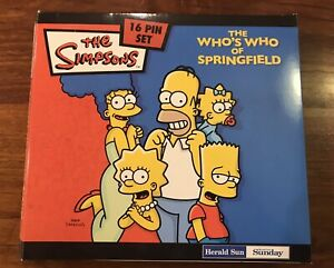 """The Simpsons Complete 16 Pin Set """"The Who's Who Of Springfield"""" 2006 Herald Sun"""