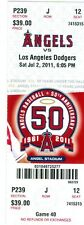 2011 Angels vs Dodgers Ticket: Vernon Wells homered to lead Angels to a 7-1 win
