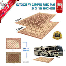 Indoor Outdoor Patio Mat RV 9'x12' Reversible Picnic Camping Rug Carpet w/ Strap