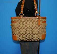 COACH Signature GALLERY Brown Jacquard Leather Tote Shoulder Bag Purse 11237