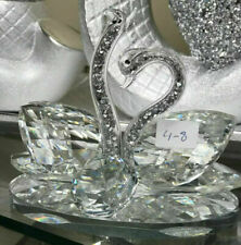 Crystal Swans Silver Crushed Diamonds Neck Home Decor Bling Romany Item NEW_UK
