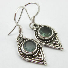 925 Sterling Silver FACETTED ROUND APATITE TIBETAN Earrings 3.3 CM BESTSELLER