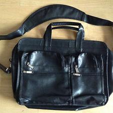 Black Faux Leather Briefcase Laptop Day Bag Handbag Zip Pockets Shoulder Strap