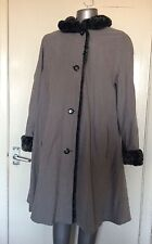 ENSIGN SIZE 10, GREY COAT/MAC, FAUX FUR  COLLAR & CUFFS, PRE-LOVED