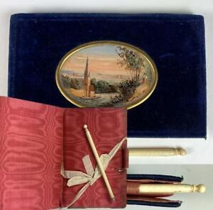 Antique French Aide d' Memoire, Carnet du Bal, Nécessaire, Eglomise Countryside