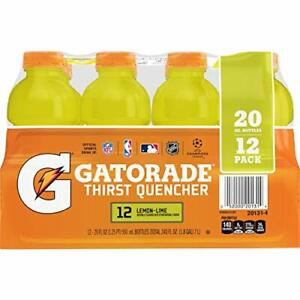 Gatorade Thirst Quencher Lemon-Lime 20 Ounce Bottles Pack of 12