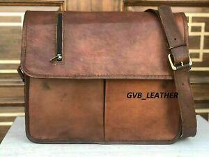 Vintage Genuine Real Leather Handbag Shoulder big storage Bag Satchel Messenger
