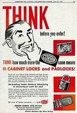 1952 CORBIN PADLOCK & CABINET LOCK AD NEW BRITAIN CT CONNECTICUT