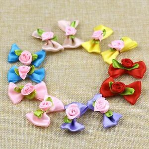 Bulk-10/20P Small Satin Ribbon Flowers Bows w/Mini Rose Flowers Appliques