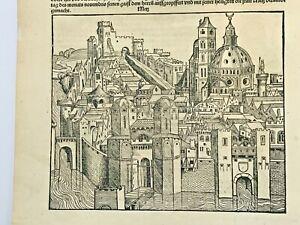 METZ FRANCE 1497 CHRONICLE OF NUREMBERG HARTMANN SCHEDEL ORIGINAL
