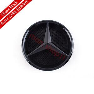 Gloss Black Front Grille Star Emblem Logo Fit Mercedes Benz C-Class 2014-2018
