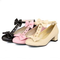 Women Sweet Candy Bowknot Round Toe T-Strap Mary Jane Block Low Heel Pump Shoes