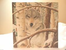 Holiday Christmas Seasonal Card Snowy Forest Wolf Greeting Gift Post Vintage