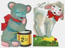 2 Vintage Child Birthday Greeting Cards: One & Two Year old, Lamb, Bear  EXC
