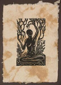 Original Woodcut Norse Godess Legend Mimir Surreal Earth Sky Mother