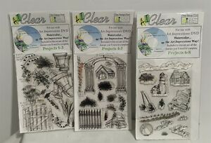 Art Impressions LANDSCAPE Watercolor Clear Garden Lighthouse Rubber Stamps Lot