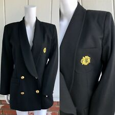 VTG 80s Black Christian Dior Double Breasted Monogram Mens Wear Blazer 8 Flaw