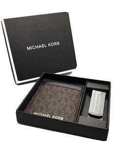 MICHAEL KORS MEN'S CARD HOLDER & MONEY CLIP SET Brown/Black
