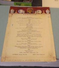 January 29 1949 Holland America Cruise Ship Line RMS Nieuw Amsterdam Lunch Menu