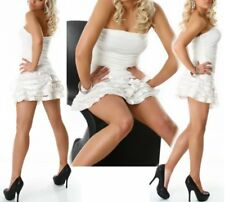 SeXy Miss Damen Bandeau Mini Kleid Abend Dress weiß Volant Spitze 34/36/38 NEU