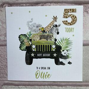 PERSONALISED Handmade BIRTHDAY Card SAFARI JUNGLE ANIMALS 2 3  4 ANY AGE