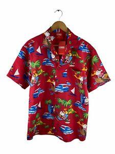 Lowes NEW Button Up Christmas Hawaiian Shirt Mens Size M Red Short Sleeve Santa