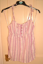 BNWT Pink Stripe Summer Vest Top Size 8. Cotton. Adjustable Straps