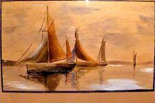 1958 FLORIDA Original SAILBOATS SEASCAPE Watercolor PAINTING James Ingersoll