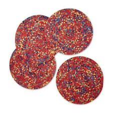 """The Pioneer Woman Fiona Floral Braided Placemats, Round  15"""" Diameter Red 4 ct"""