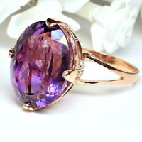 Grosser Amethyst Ring aus 925 Sterlingsilber in Rosegold Damen Fingerring 17,5