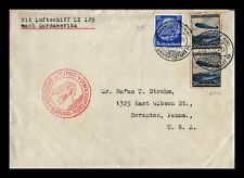 DR JIM STAMPS ZEPPELIN AIRMAIL FRANKFURT GERMANY EUROPEAN SIZE COVER