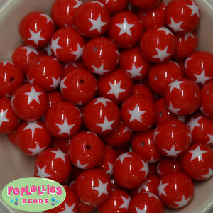 20mm RED with White Star print resin Chunky Bubblegum Beads 20 pc