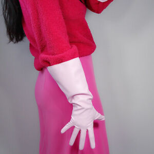 LONG GLOVES Unisex Burgundy Red Faux Leather 38cm Wide Balloon Puff Sleeves L