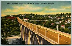 "Postcard~ Riverside Bridge & ""D"" Street Viaduct~ Lynchburg, VA~ c236"
