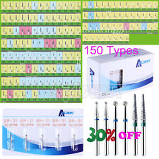 10X-500X Dental Diamond Burs Tooth Drill for High Speed Handpiece 150 Types