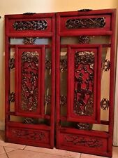 """Antique Chinese Red Lacquer Carved 2 Panel 13"""" x 31"""" Screens"""