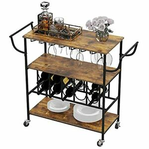Industrial Bar Cart Kitchen Cart for Home Office, Utility Rolling Cart with