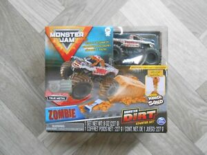 Monster Jam Dirt Kinetic Sand Starter Set & Exclusive Zombie Truck New Kids Toy