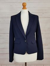 NEXT Womens Navy Blue Collared Long Sleeve Buttoned Suit Jacket Blazer Size 8