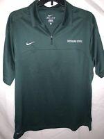 Nike Dri-Fit Mens MSU Spartans XL 1/4 Zip Green Short Sleeve Polo