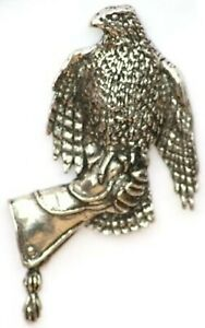 Harris Hawk on Falconry Glove Pewter Badge Gift pouch